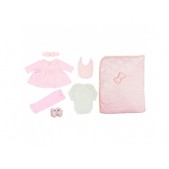 Бебешки комплект с дантела панделки за изписване или подарък 7 части на Експрес розов цвят - Комплекти за изписване