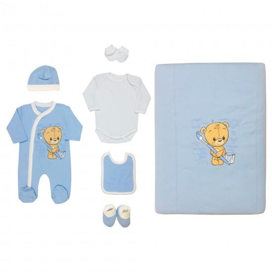 Бебешки комплект с Мече за изписване или подарък 7 части на Светли син цвят - Комплекти за изписване
