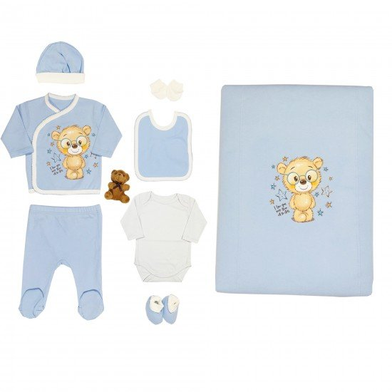Бебешки комплект с мече за изписване или подарък 9 части на Светли син цвят - Комплекти за изписване