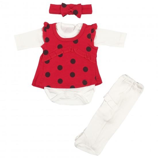 Бебешки комплект от 3 части с рокля на точки за момиченце на Експрес 56см. червен цвят - Комплекти за изписване