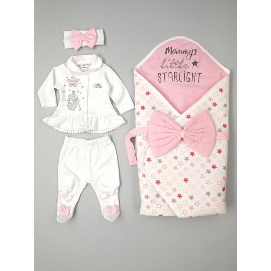 Комплект за изписване/подарък за момиченце с портбебе за сезон пролет/есен на Морисмо 56 см розов цвят със звездички - Комплекти за изписване