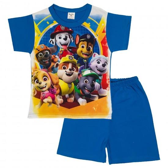 Детска пижама Пес патрул с къс ръкав на  Комтекс   98-116 см син цвят - Пижами за момчета