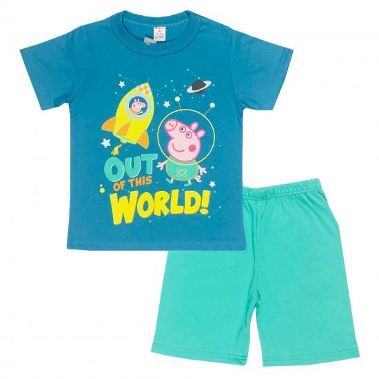 Детска пижама с къс ръкав Джордж на Светли 98-116 см - Пижами за момчета