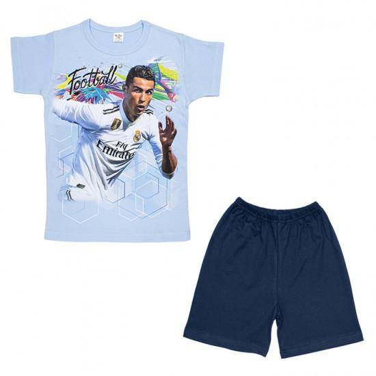 Детска пижама с къс ръкав Роналдо на Комтекс 122-134 см - Пижами за момчета