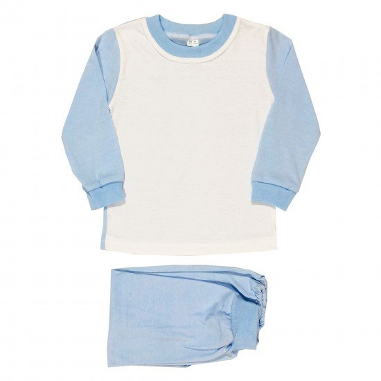 Детска пижама с дълъг ръкав 92-128 см. бял и син цвят - Пижами за момчета