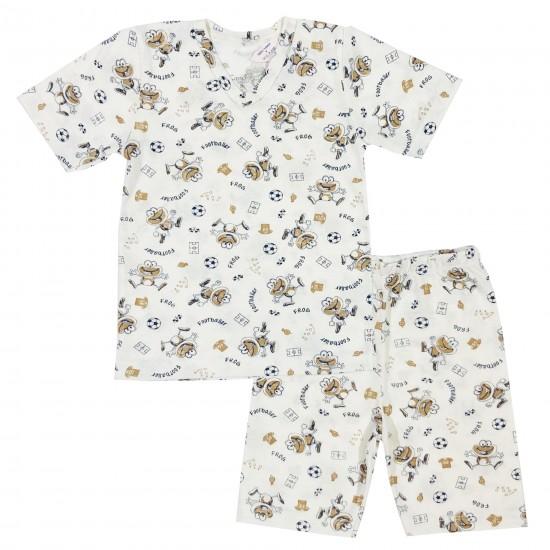 Детска пижама с къс ръкав и футболни мотиви 86-116 см бял цвят - Пижами за момчета