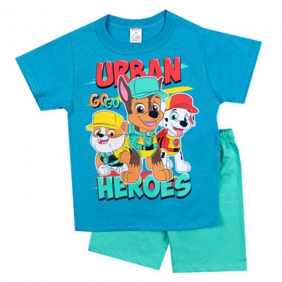 Детска пижама с къс ръкав Пепа Пиг на  Светли  92-116 см син и зелен цвят - Пижами за момчета