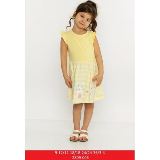 Детска лятна рокля с принт със зайчета на Cichlid 80-104 см жълт цвят - Рокли и поли