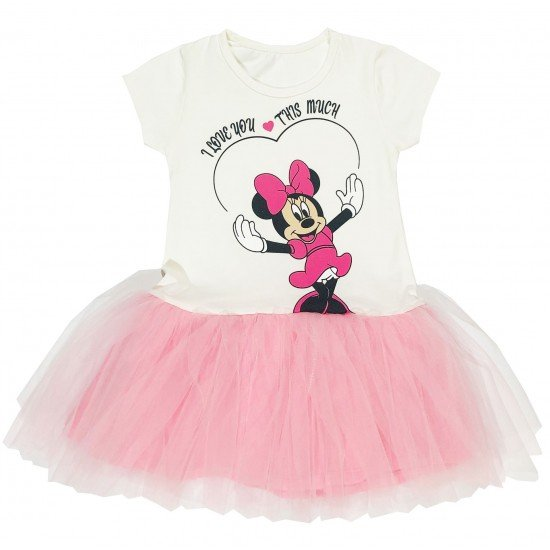 Детска рокля с къс ръкав с Мини и нежен тюл на Севтекс 86-116 см в бяло и розово - Рокли и поли