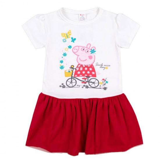 Детска рокля с къс ръкав с Пепа Пиг на Светли 86-116 см. бял и червен цвят - Рокли и поли