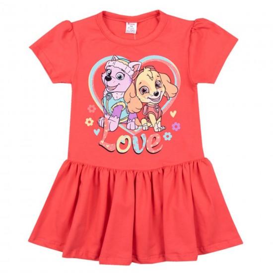Детска рокля с къс ръкав с Пес Патрул на Светли 86-116 см. цвят корал - Рокли и поли