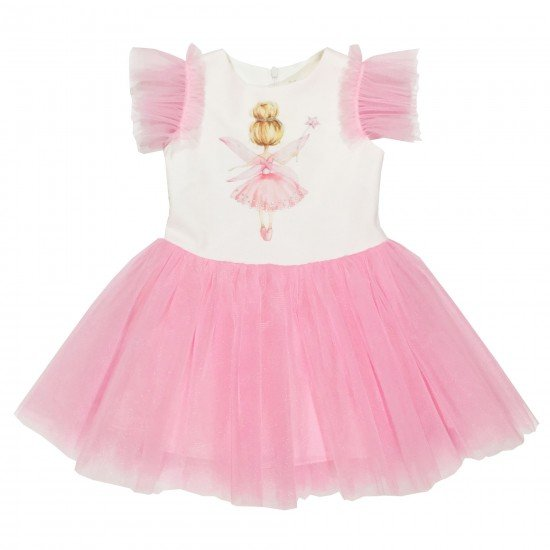 Разкошна детска рокля с богат тюл и красива Фея на Contrast 80-140 см. бял и розов цвят - Рокли и поли
