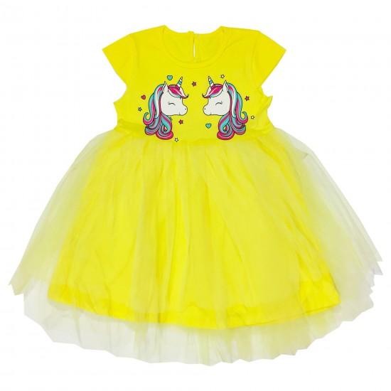 Детска рокля с къс ръкав с Еднорози и нежен тюл на Севтекс 92-128 см жълт цвят - Рокли и поли