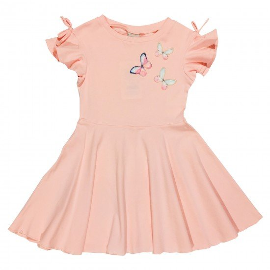 Детска елегантна рокля с пеперуди на Contrast 104-122 см цвят пудра - Рокли и поли