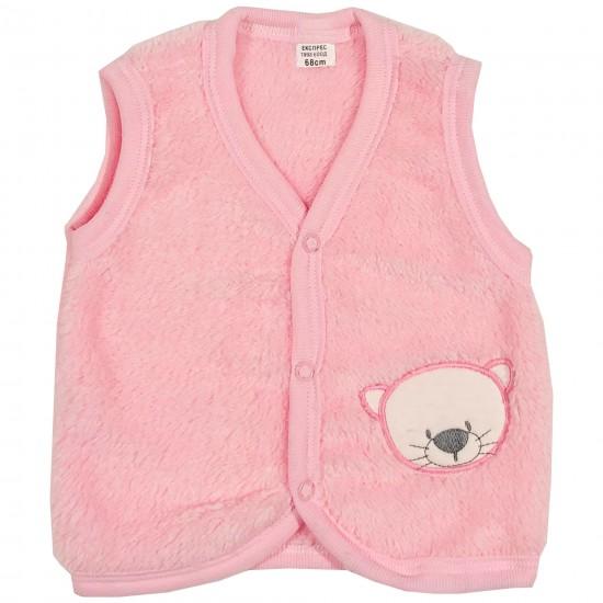 Бебешки кополарен елек с Коте 62-86см. розов цвят - Връхни дрехи, якета, ескимоси