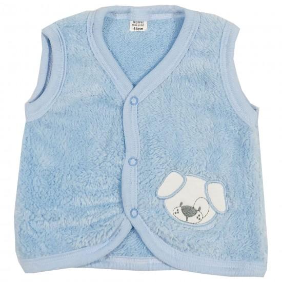 Бебешки кополарен елек с Кученце 62-86см. син цвят - Връхни дрехи, якета, ескимоси