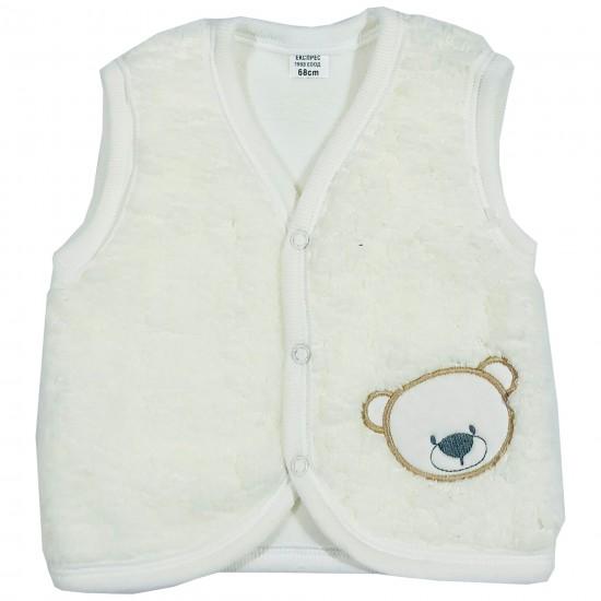 Бебешки кополарен елек с Мече 62-86см. бял цвят - Връхни дрехи, якета, ескимоси
